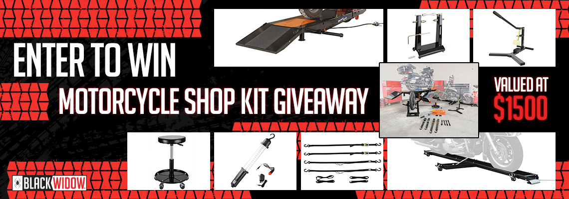 Enter to Win Banner - Motorcycle Shop Kit Giveaway