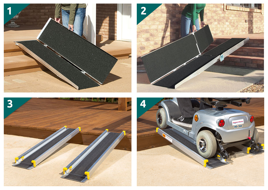 Portable Wheelchair Ramps Styles-Single Fold Wheelchair Ramps-Multi-Folding Wheelchair Ramps-Multi-Folding Wheelchair Ramps-Wheelchair Track Ramps