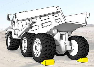Wheel chocks on each rear tire of an articulated truck