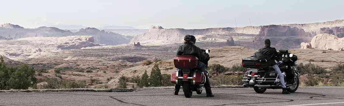 Motorcycle riders on a ridge