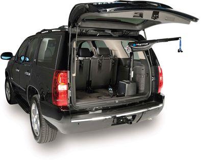 A wheelchair lift in an SUV
