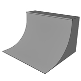 A vert ramp; a quarter-pipe with extended vertical section