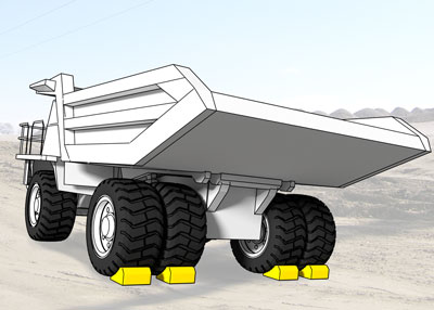 Wheel chocks on each rear tire of a truck weighing over 240 tons