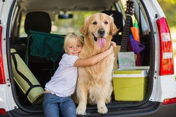 Girl hugging dog in car