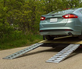 Ford Fusion on car ramps