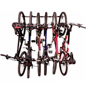 Bicycles on a wall rack