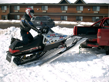 snowmobile on ramp