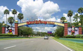 Theme park entrance sign