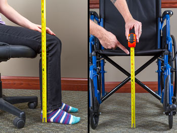 Wheelchair front of seat measurements