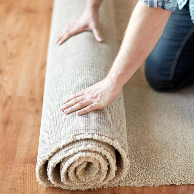 Rolling up Rug