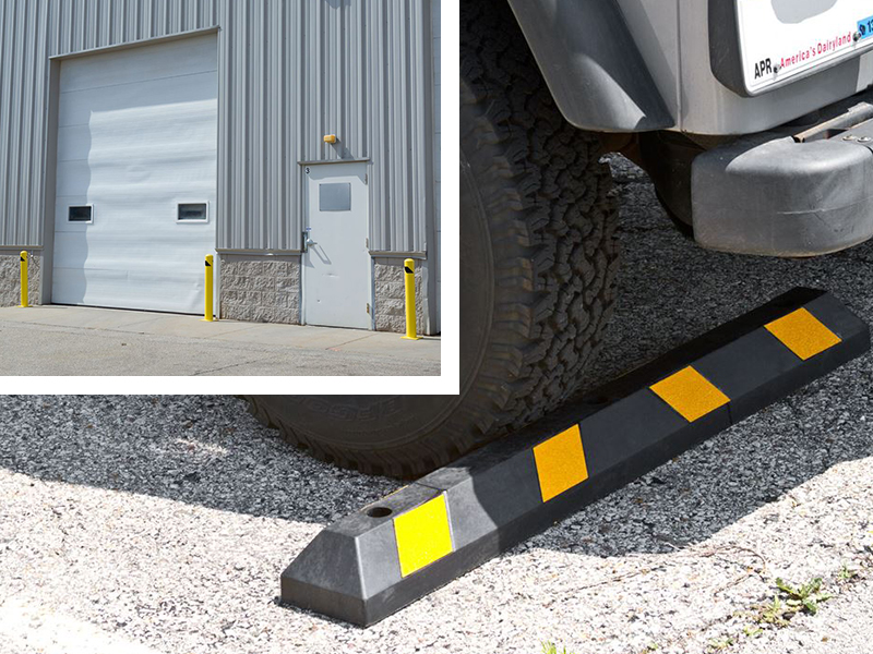 Use parking stops, bollards and guards to create clear designated parking areas