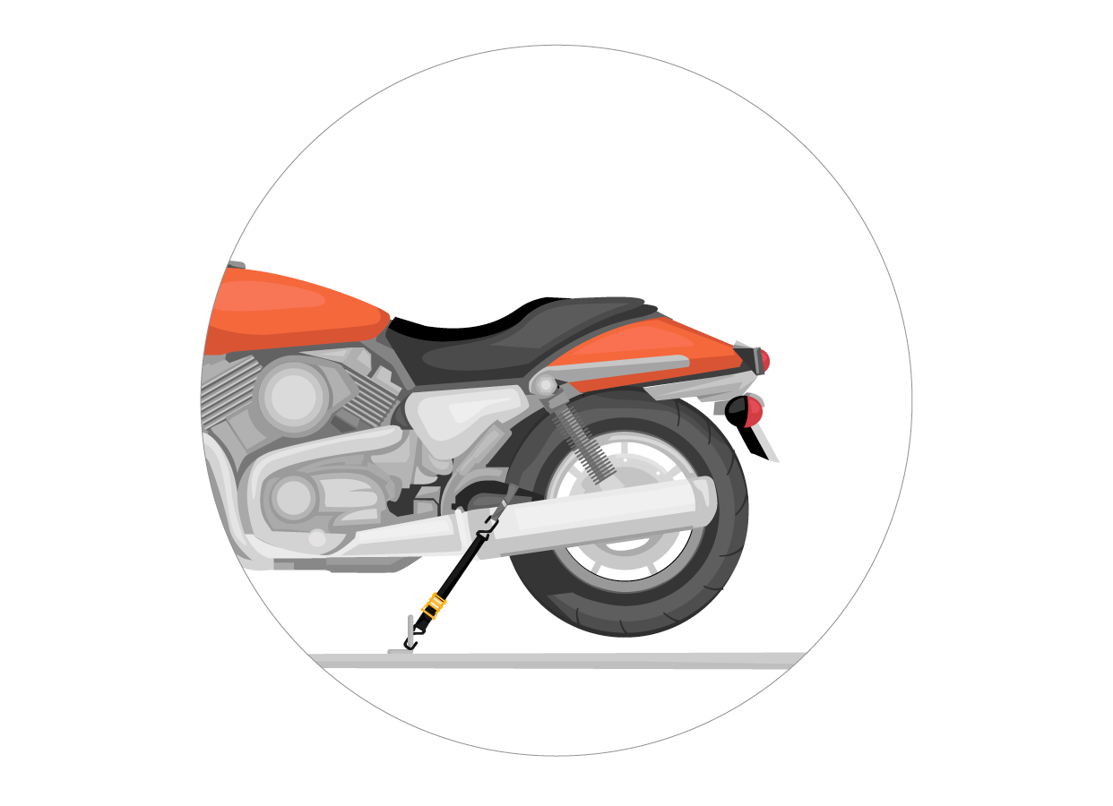 For the rear of the bike, find a stable part of the bike and wrap a soft loop around it, then proceed to secure the straps to the bike in same fashion as done in the front.
