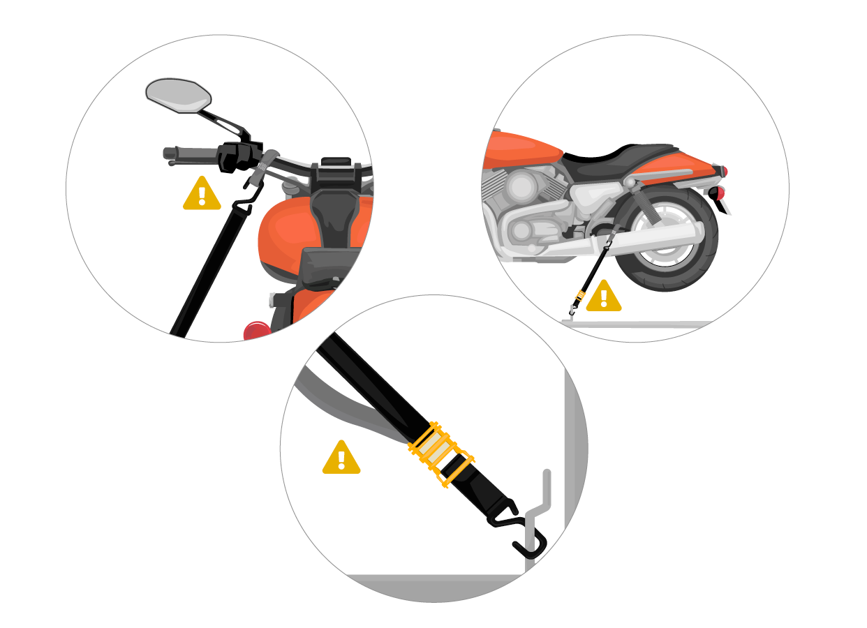 To ensure stability, periodically check the strap tightness and the condition of the straps along with the load itself before and during the trip.