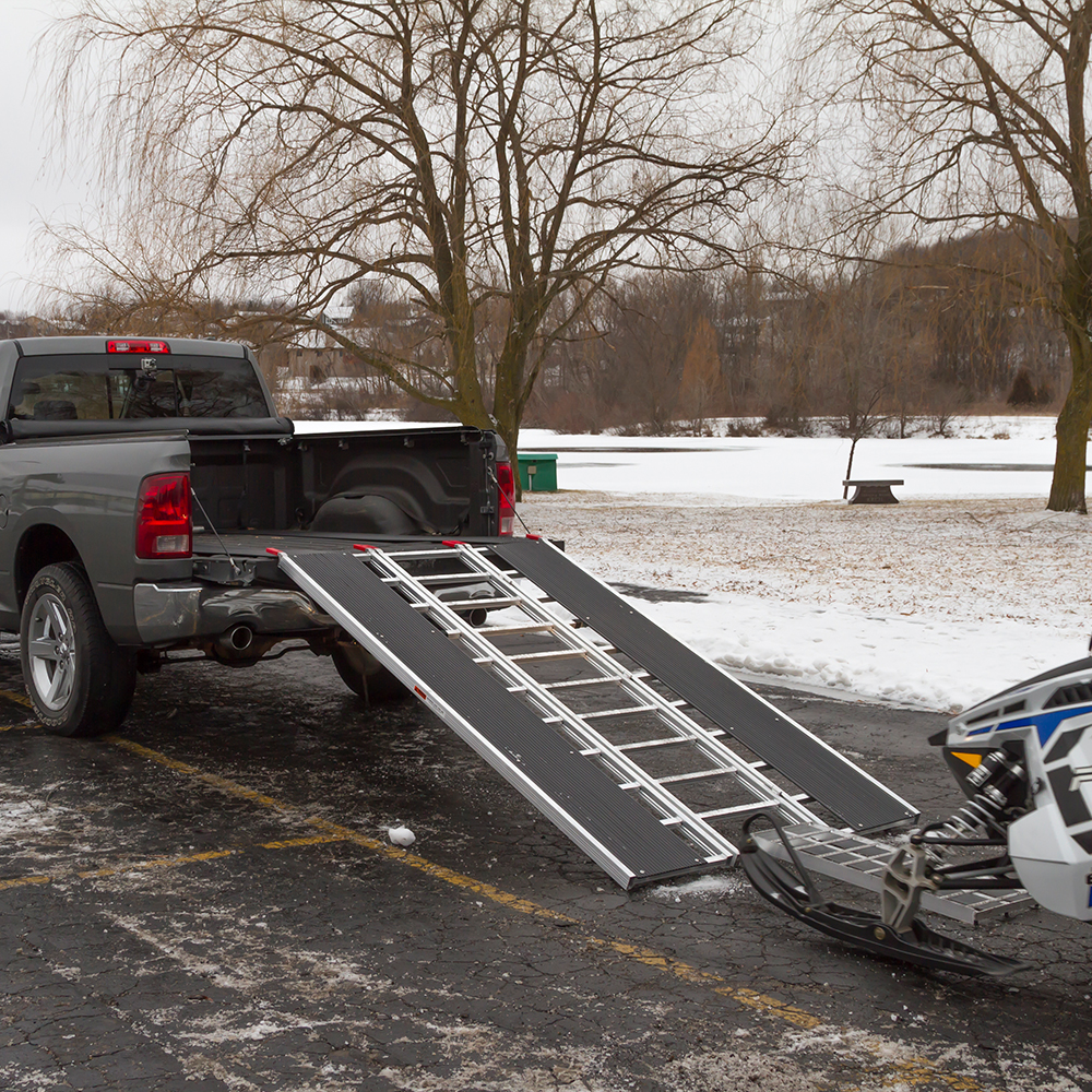Align your snowmobile with the ramp