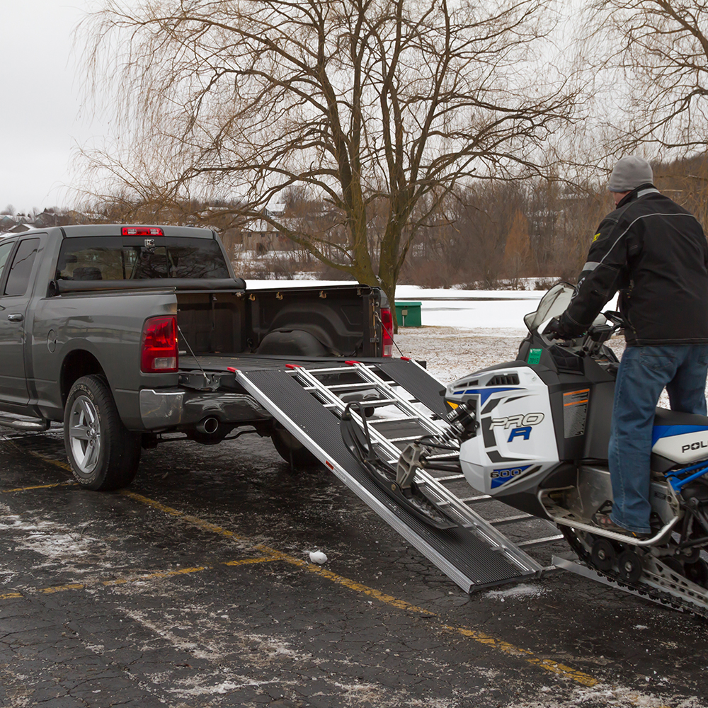 Ride your snowmobile up and into your pickup bed
