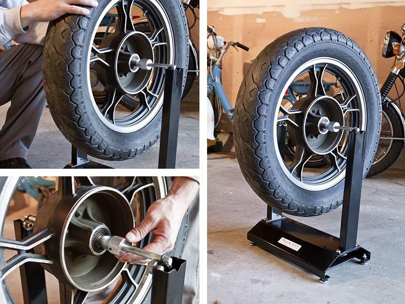 Mount your motorcycle wheel on the wheel balancer