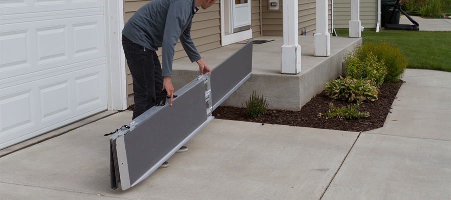 What are full-width portable wheelchair ramps?