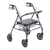 10215-1 Drive Medical Blue Bariatric Walker Rollator with Large Padded Seat