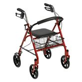 10257-1 Drive Medical Red Four Wheel Walker Rollator with Fold Up Removable Back Support