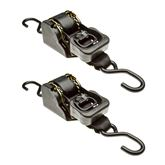 10RTBL-S-2-2 2 Pack - 10 L x 2 W Retractable Ratchet Strap with S-Hooks