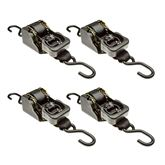 10RTBL-S-2-4 4-Pack of 2 x 10 Retractable Ratchet Strap with S-Hooks