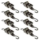 10RTBL-S-2-8 8-Pack of 2 x 10 Retractable Ratchet Strap with S-Hooks