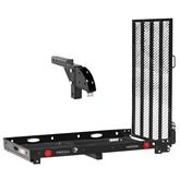 SC400-HA Silver Spring Steel Folding Trailer Hitch Scooter Carrier with Hitch Adapter
