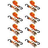 VH-Strap-R-10-O-8 8-Pack of 1 x 10 Ratchet Straps with S-Hooks