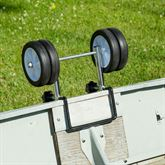 The boat dolly features dual plastic wheels