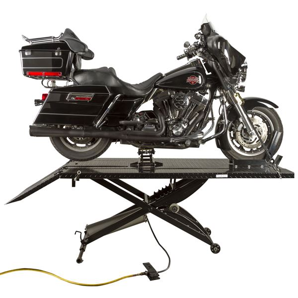 Black Widow Extra Wide Pneumatic Motorcycle Lift Table