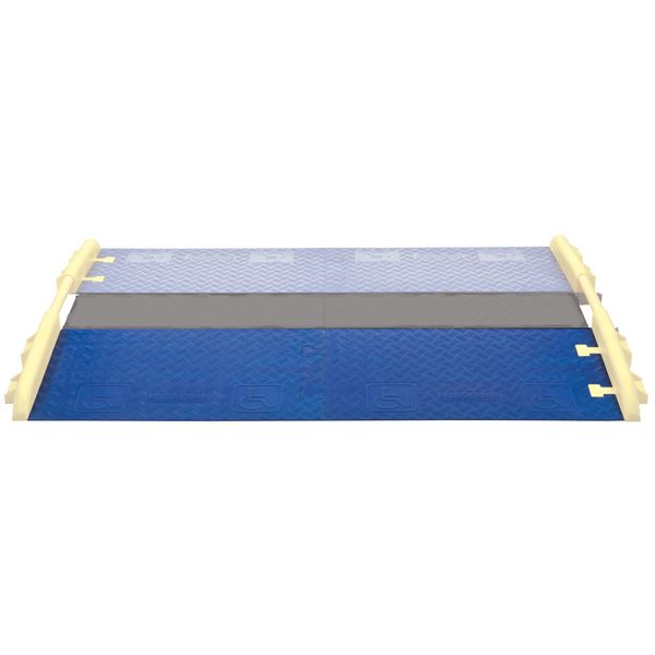 Cross guard ada wheelchair cable ramp for channel drop