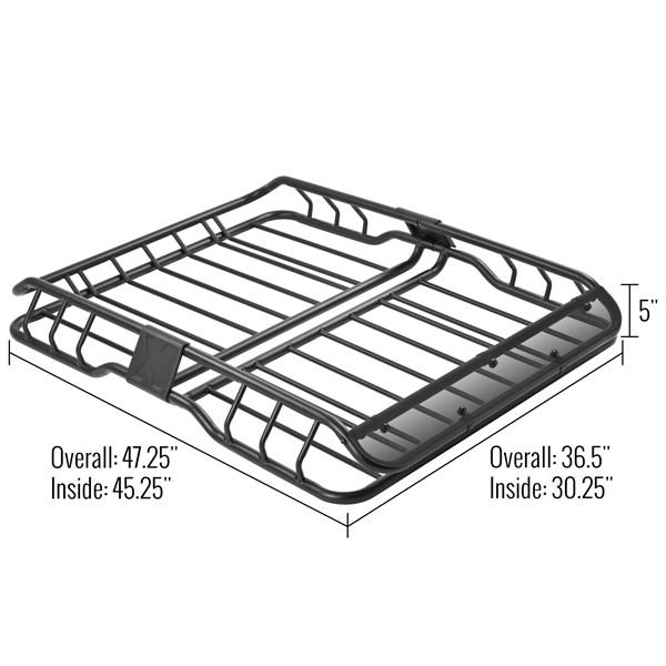 Apex Deluxe Steel Roof Cargo Basket With Wind Fairing