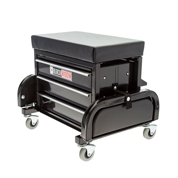 Black Widow Toolbox Creeper Seat With Drawers Discount Ramps