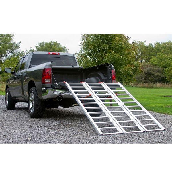 Atv Truck Ramps >> Aluminum Extra Wide Tri Fold Atv Ramp 6 5 Long