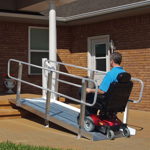 Help Getting Up Stairs For People With Limited Mobility: PVI OnTrac Wheelchair Access Ramp With Handrails