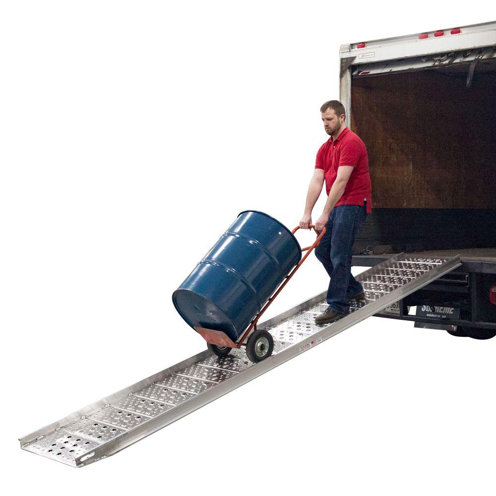 01-26-120-04-WALK-P 10 Long x 26 Wide - 1750 lb Capacity Hook-End Aluminum Punch Plate Walk Ramp