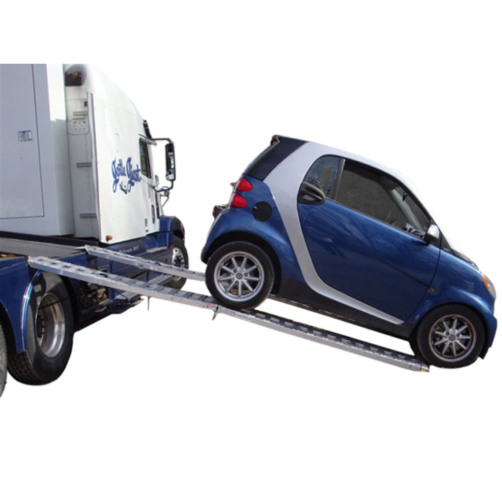 02-12-144-06-S 12 L x 12 W Aluminum Plate End Folding Smart Car Trailer Ramps - 2000 lb per axle Capacity