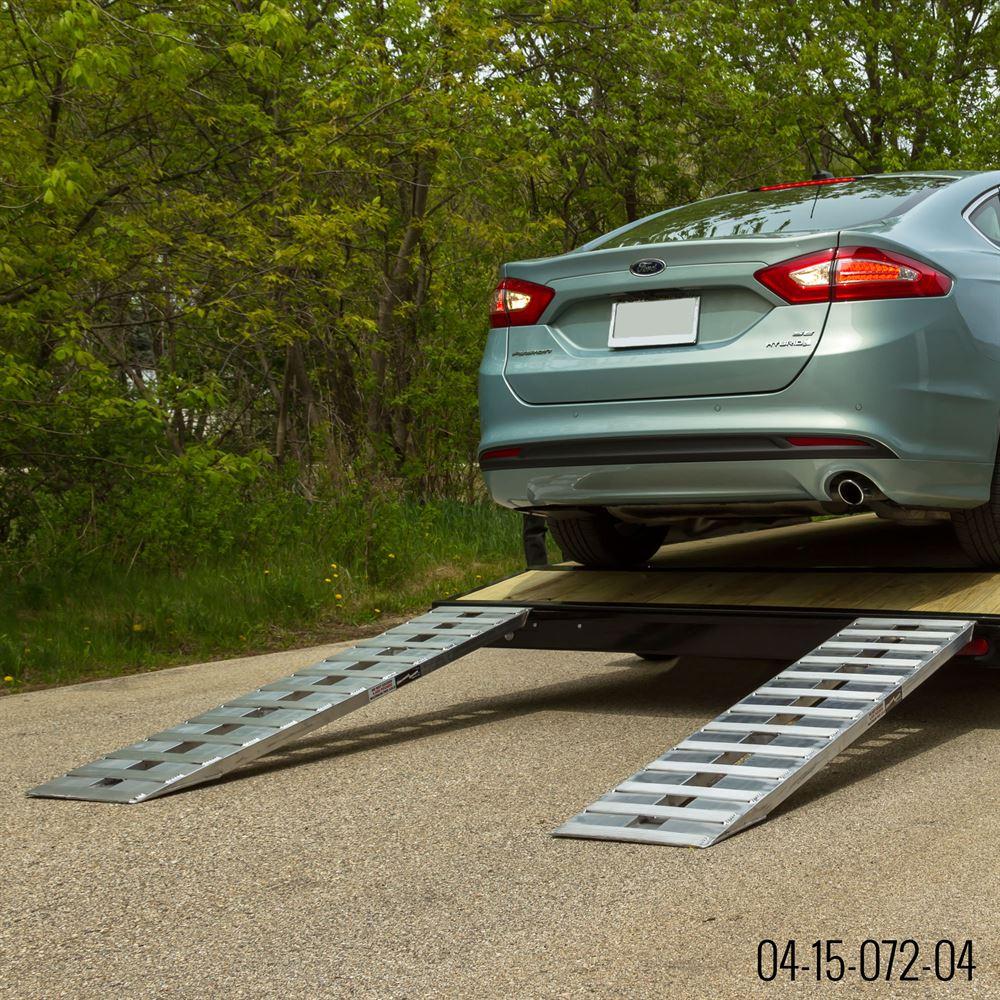 Car Trailer: Hook End Aluminum Car Trailer Ramps, Knife Foot