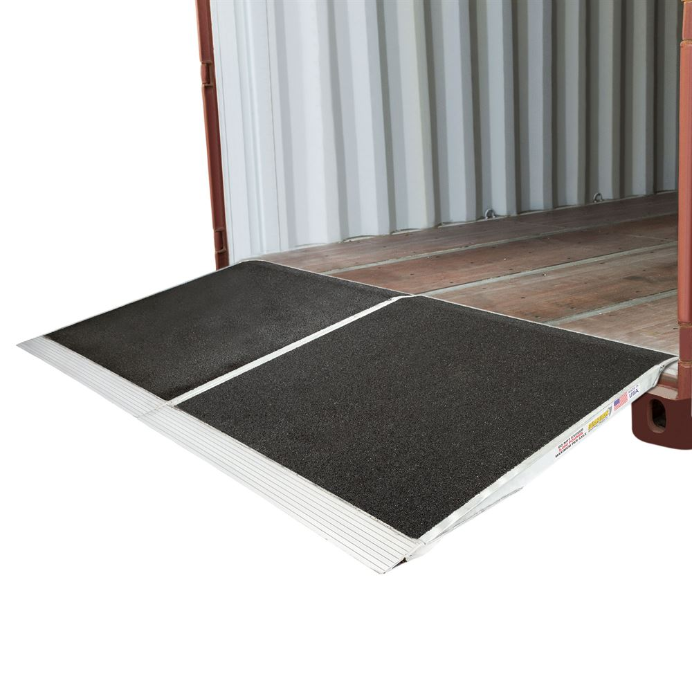 05-45-048-06-Grit-2 48 x 90 Guardian Aluminum Grit Shipping Container Ramps - 10000 lb Capacity