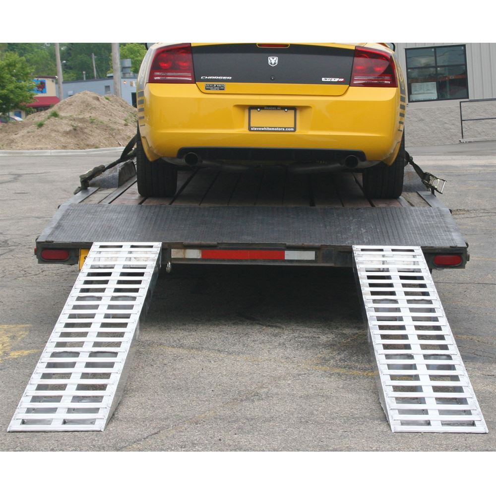05-TTRAMP-FLAT Aluminum Plate End Car Trailer Ramps - 5000 lb per axle Capacity 1