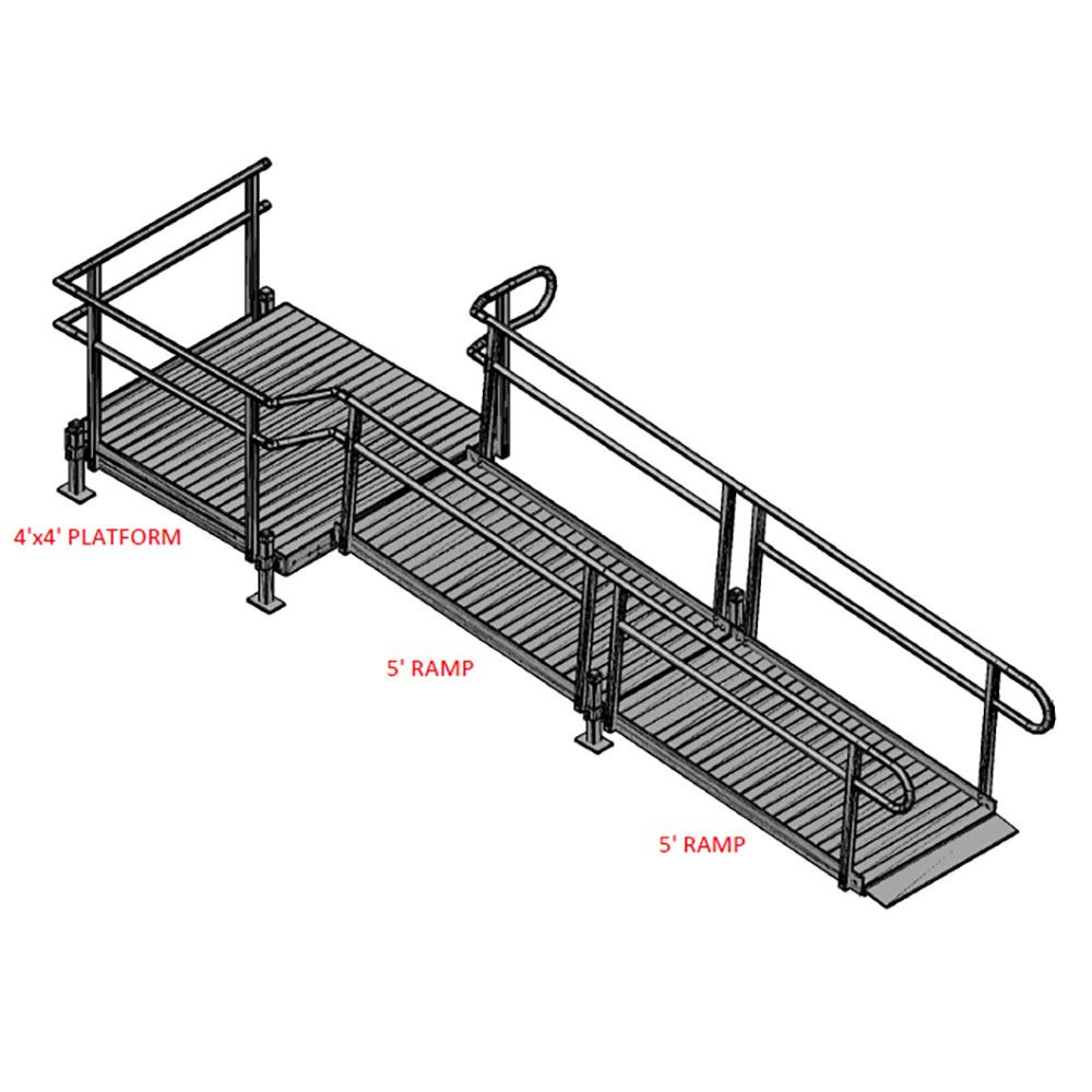 10-44T Silver Spring 10 Side-Entry Straight Modular Ramp with 4 Platform