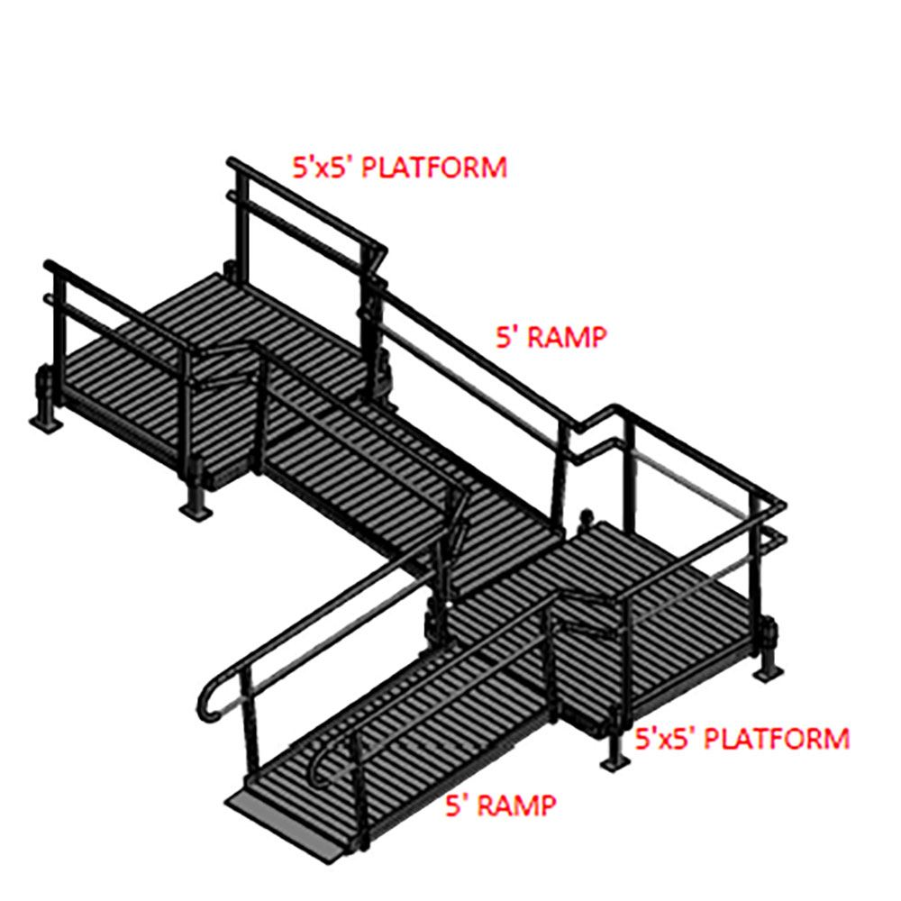 10-55ST Silver Spring 10 L-Shaped Modular Ramp with 5 Top Platform