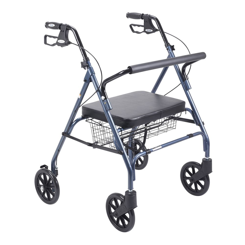 10215BL-1 Drive Medical Black Bariatric Walker Rollator with Large Padded Seat