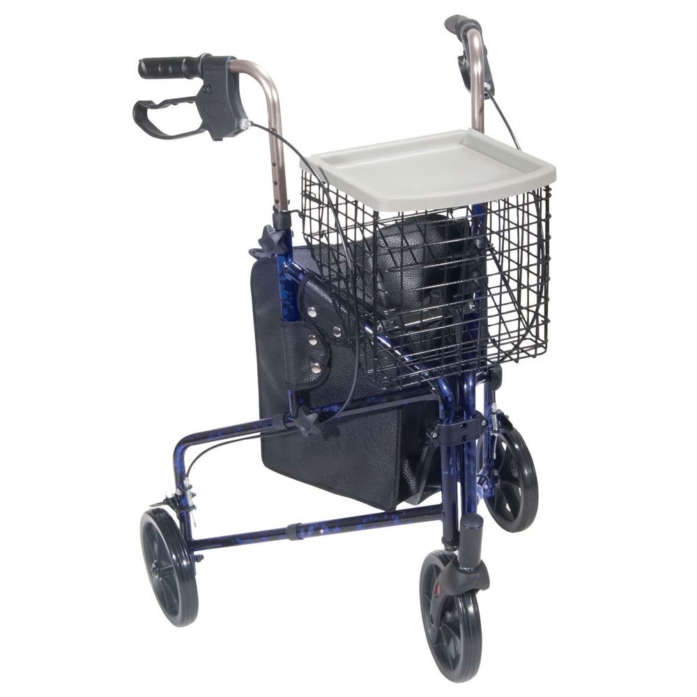 10289BL 3 Wheel Walker Rollator With Basket Tray And Pouch Flame Blue