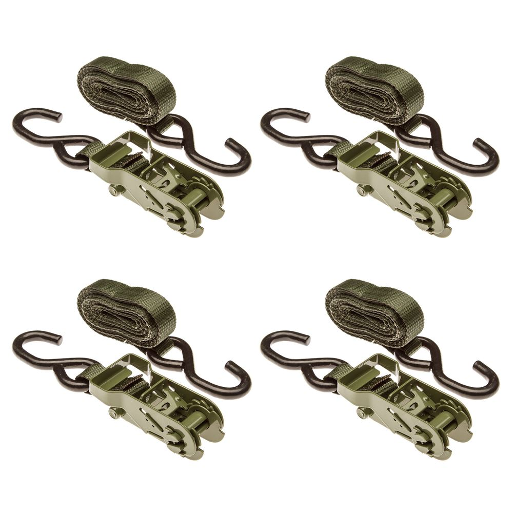 10RAT-S-4G 4-Pack of 1 x 10 Army Green Ratchet Straps with S-Hooks