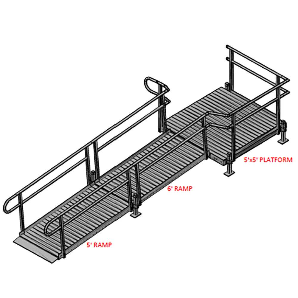 11-55T Silver Spring 11 Side-Entry Straight Modular Ramp with 5 Platform