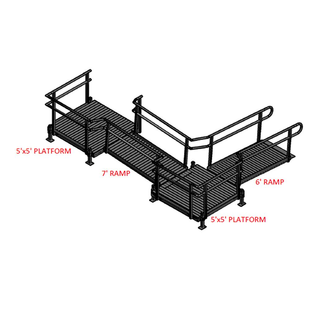 13-552TP Silver Spring 13 Side-Entry L-Shaped Modular Ramp with 5 Top Platform