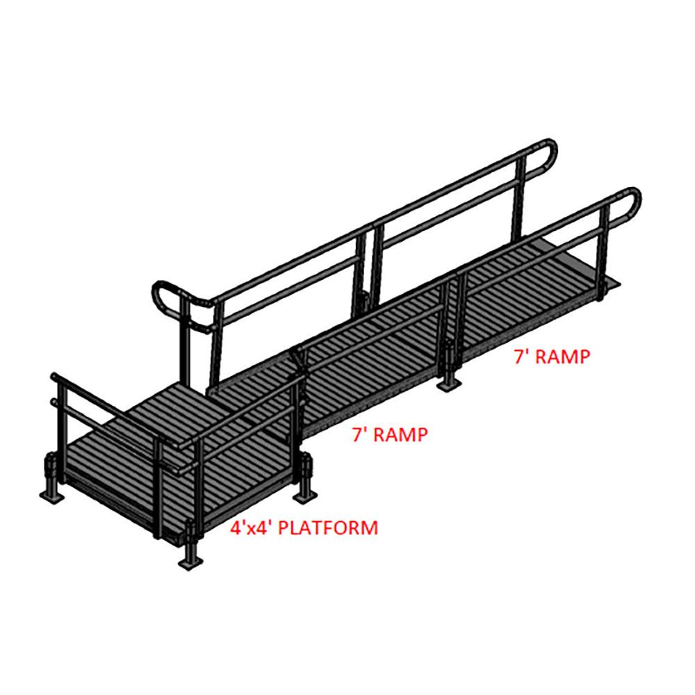 14-44T Silver Spring 14 Side-Entry Straight Modular Ramp with 4 Platform