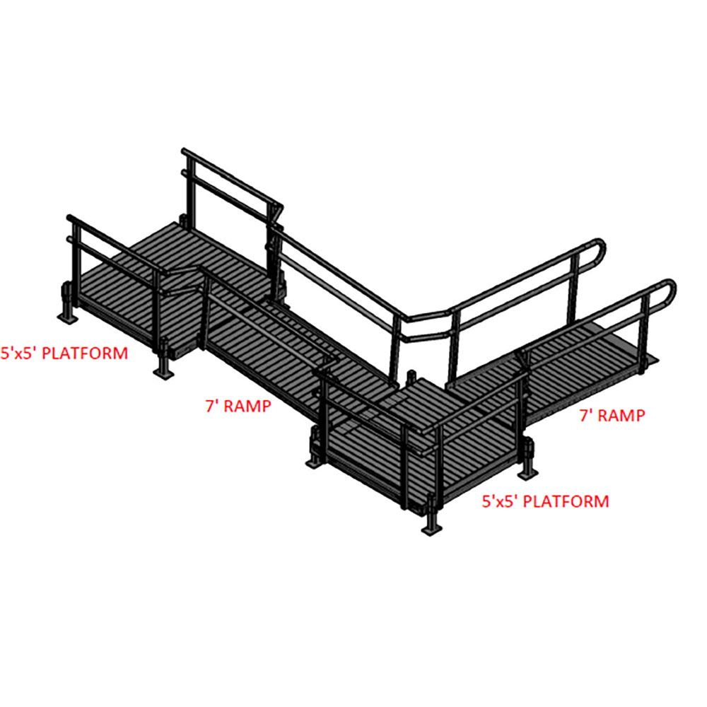 14-55ST Silver Spring 14 L-Shaped Modular Ramp with 5 Top Platform