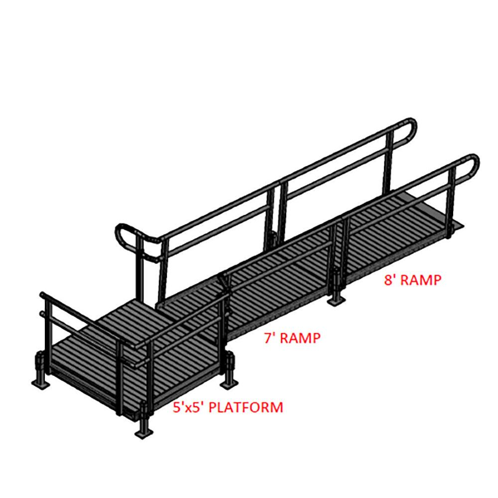 15-55T Silver Spring 15 Side-Entry Straight Modular Ramp with 5 Platform